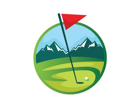 현대 골프 로고 - 멋진 마운틴 뷰 골프 코스 상징