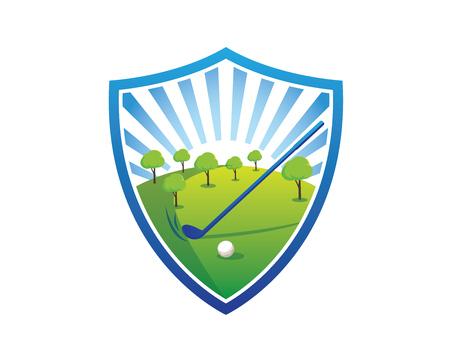 Modern Golf Logo - Blue Sky Golf Field Shield