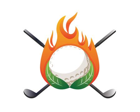 Modern Golf Logo - On Fire Green Golf Emblem 向量圖像