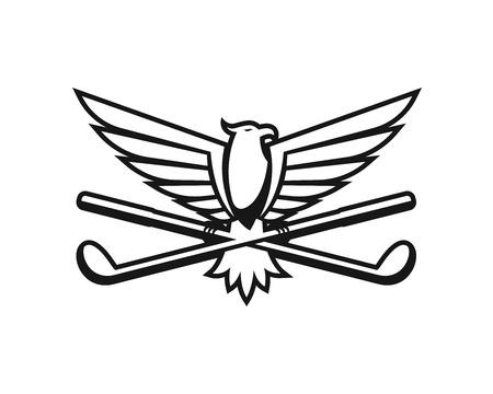 Modern Golf Logo - American Eagle Carrying A Golf Stick Shield