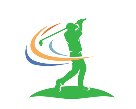 Modern Golf Logo - Professional Golfer Athlete Winning Swing 矢量图像