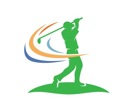 Nowoczesne logo golfa - profesjonalny golfista wygrywający huśtawkę