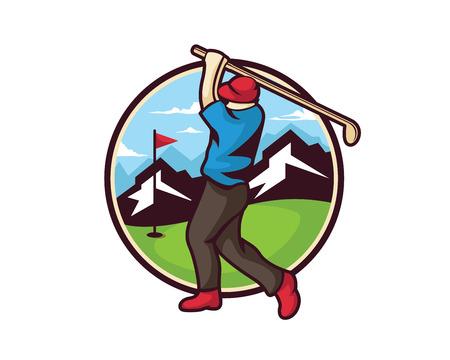 Modern Golf Logo - Professioneel Golfer Illustratie Embleem Stock Illustratie
