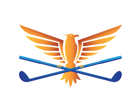 driving range: Modern Golf Logo - Flaming Falcon Holding A Golf Stick Illustration
