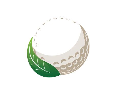 현대 골프 로고 - 골프 공 및 녹색 신선한 잎 일러스트