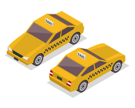 Modern Isometric Urban Vehicle Illustration Logo - Taxi Illustration