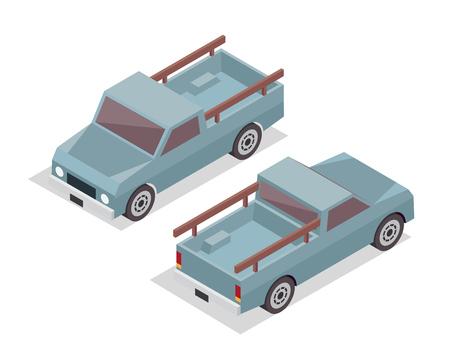 passanger: Modern Isometric Urban Vehicle Illustration Logo - Farm Pickup Truck