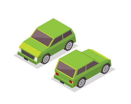passanger: Modern Isometric Urban Vehicle Illustration Logo - Small Green City Car