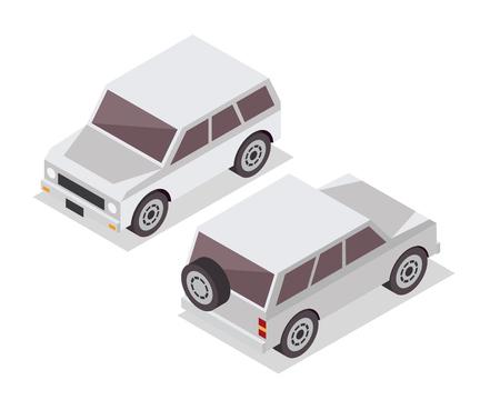 passanger: Modern Isometric Urban Vehicle Illustration Logo - White SUV Car
