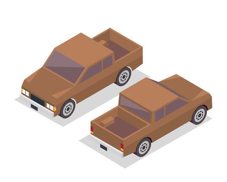passanger: Modern Isometric Urban Vehicle Illustration Logo - Brown SUV Pickup Truck Illustration