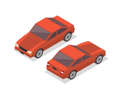 passanger: Modern Isometric Urban Vehicle Illustration Logo - Orange Hybrid Sedan Car Illustration
