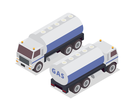 passanger: Modern Isometric Urban Vehicle Illustration Logo - Gas Tank Truck