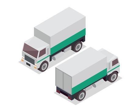 passanger: Modern Isometric Urban Vehicle Illustration Logo - Cargo Delivery Truck Illustration