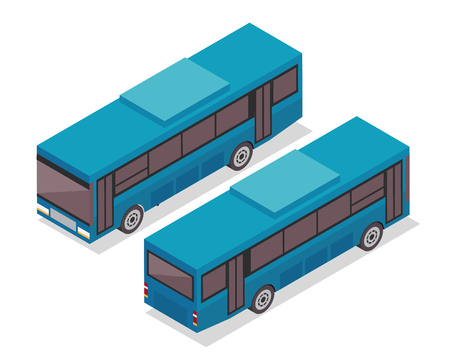 Modern Isometric Urban Vehicle Illustration Logo - Bus