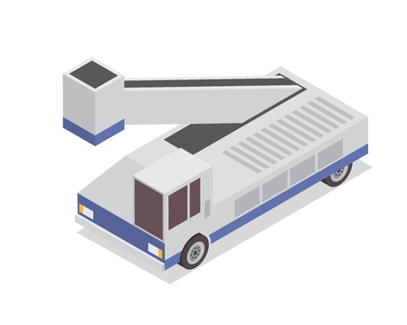 Modern Isometric Urban Vehicle Illustration Logo - Airport Service Hydraulic Truck Illustration