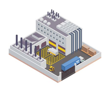 Modern Isometric Industrial Factory and Warehouse Logistic Building, Suitable for Diagrams, Infographics, Illustration, And Other Graphic Related Assets