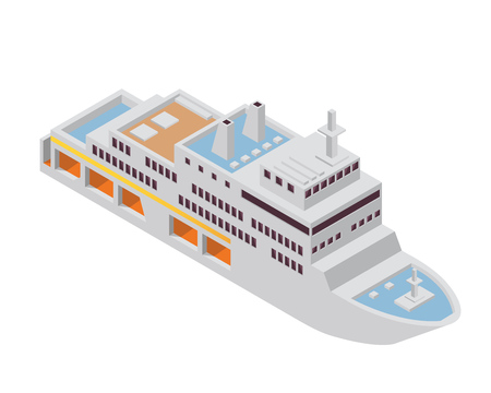 Modern Sea Transportation Illustration Asset - Car Transporter Boat