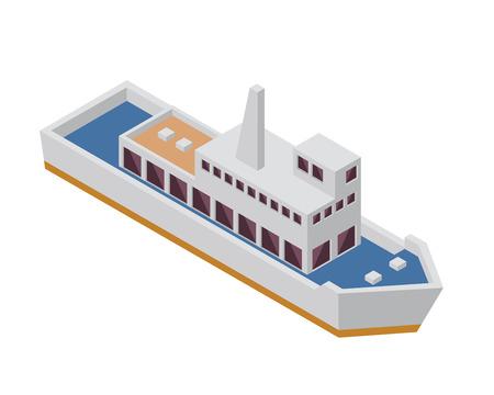 passanger: Modern Sea Transportation Illustration Asset - Passenger Ferry Boat Illustration