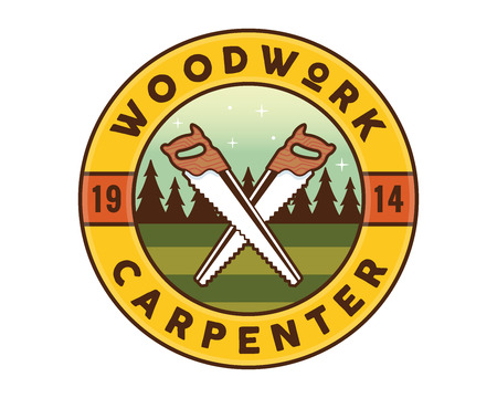 Isolated vintage woodwork carpentry badge emblem illustration, suitable for workshop, carpentry, furniture, architecture, craftman, and other industrial business related.