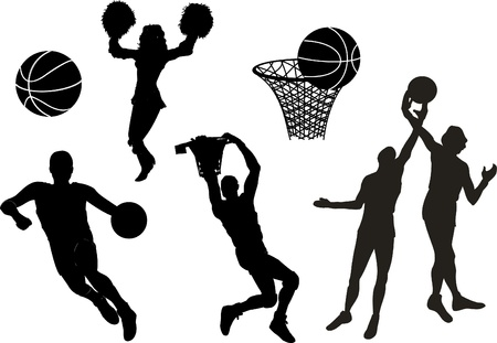 layup: Silhouettes of Basketball Players Illustration