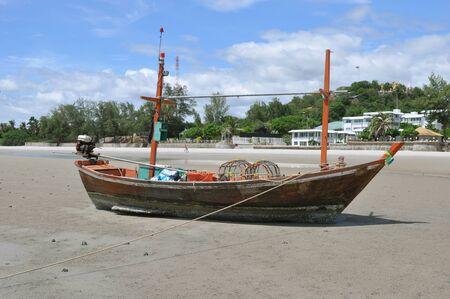 boat on Hua Hin beach, Thailand photo
