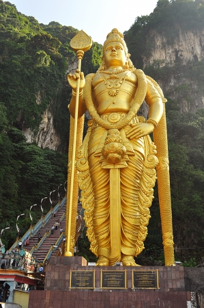 Lord Murugan statue at the hindu Batu caves on the outskirts of Kuala Lumpur
