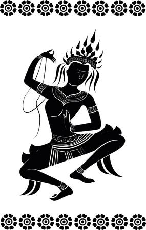 cambodia sculpture: apsara dance, silhouette