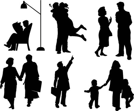 Vector silhouettes of Family Vector