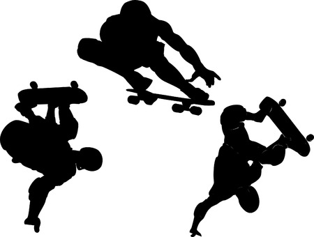 silhouette collection of skateboarding vector Illustration