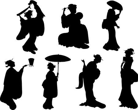 Geisha black silhouettes