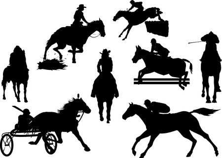 horse, equestrian vector silhouettes Illustration