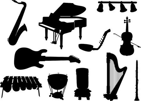 panpipes: Collection of silhouettes of musical instruments.