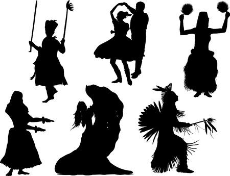latin american boy: vector silhouette of the different national dances