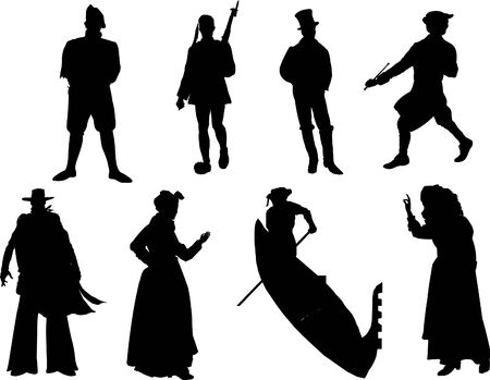 nationalities: vector silhouette of the different nationalities