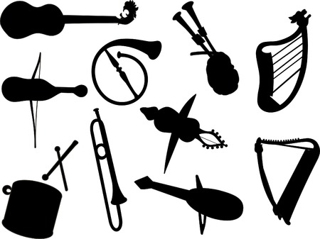 panpipes: silhouettes musical instrument vector