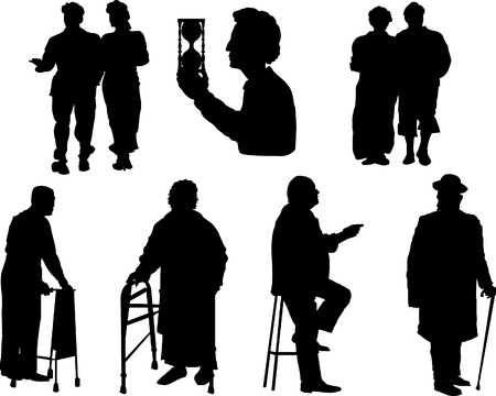 old people: Silhouette of old people.