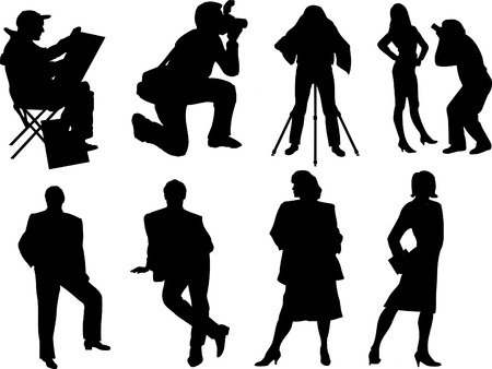sharpness: vector silhouette of photographers and models