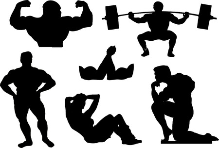 Powerlifting, weightlifting or bodybuilding silhouettes. Çizim