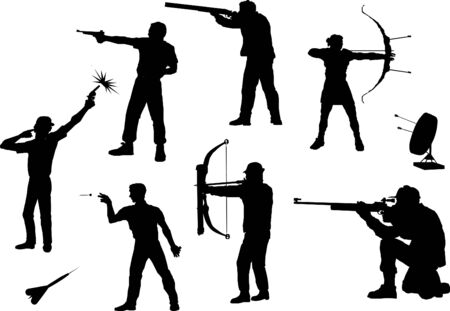 shooters: shooters silhouettes in different poses and with different weapons Illustration