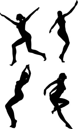 vector black silhouettes of beautiful women on white background Vector