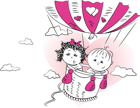 vector illustration, a couple in love is flying in a balloon
