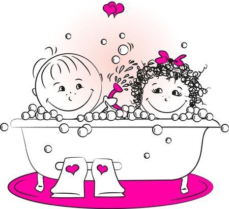 mujer ba�andose: ilustraci�n vectorial, hombre de amor y una mujer que se ba�aba en el ba�o