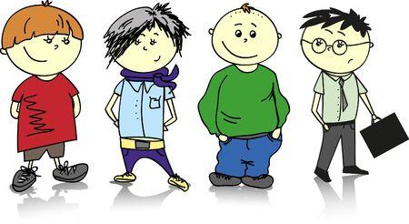 kindergartner: boys - vector set