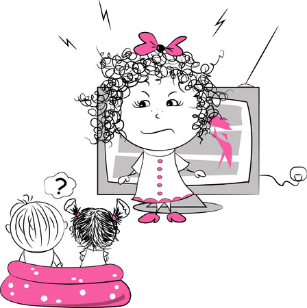 forbids: vector illustration, mother forbids children to watch television