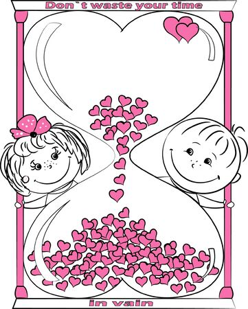 vector illustration love man and woman look out for the hourglass Vector