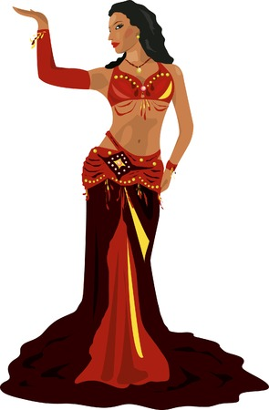 vector illustration belly dancing woman