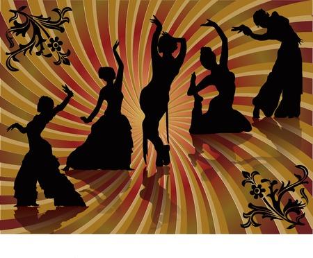 belly dancing black woman vector silhouette Vector