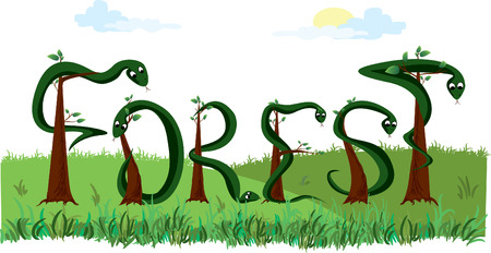 snakeskin: vector word forest Illustration