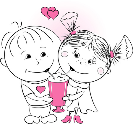 vector illustration love man and woman drinking a cocktail of one cup Illustration