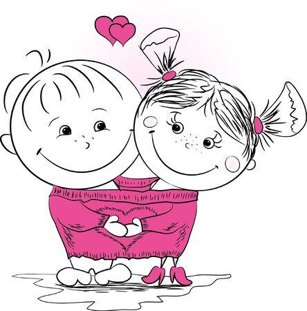 한 남자와 한 여자가 사랑에 큰 점퍼 한 벡터 그림